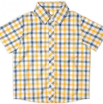 Рубашка для мальчика Garden baby, с коротким рукавом, сине-желтая клетка, 30003-38