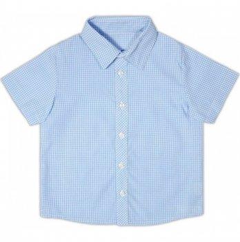 Рубашка для мальчика Garden baby, с коротким рукавом, голубая клетка, 30003-38