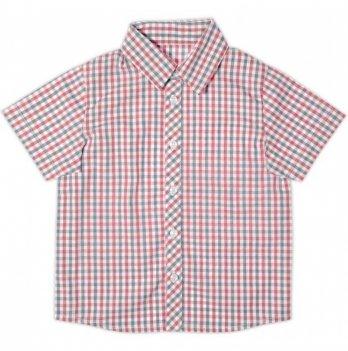 Рубашка для мальчика Garden baby, с коротким рукавом, серо-красная клетка, 30003-38