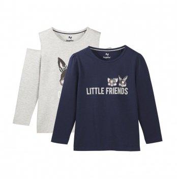 Комплект регланов для девочки Lupilu Little friends синий и серый 2 шт
