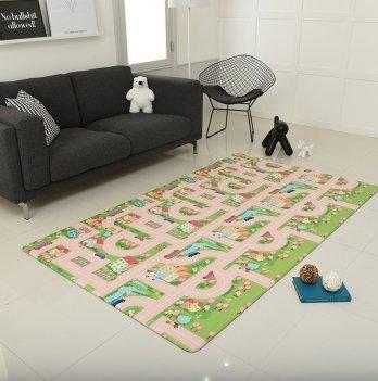 Игровой коврик ALZIPmat CITY ROAD, зелёный с розовым, с рисунком, размер 210 х 140 х 1,2 см