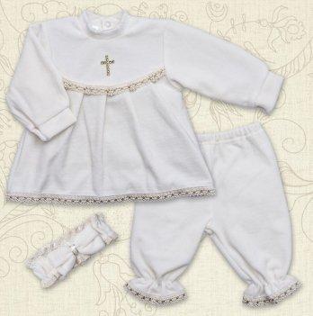 Костюм для Крещения девочки, Бетис Марія, велюр, д.р.,молочный