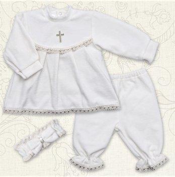 Костюм для Крещения девочки, Бетис Марія, велюр, д.р., белый