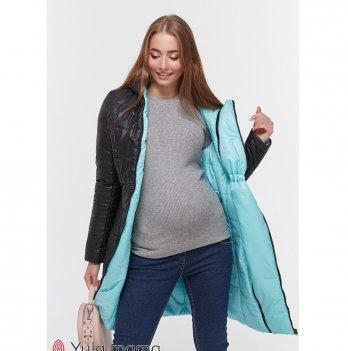 Пальто двухстороннее для беременных MySecret Kristin OW-49.011 черный/аквамарин
