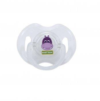Пустышка силиконовая ортодонтическая 0+ Baby Team 3100 бегемот