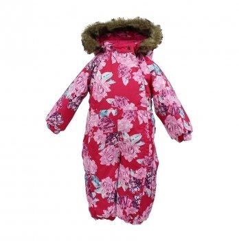Зимний комбинезон для малышей Huppa Keira 71563 фуксия с принтом