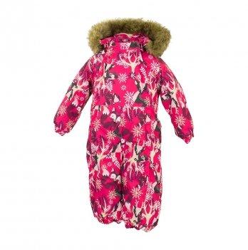 Зимний комбинезон для малышей Huppa Keira 81863 фуксия с принтом