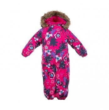 Зимний комбинезон для малышей Huppa Keira 81963 фуксия с принтом