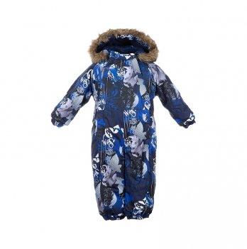 Зимний комбинезон для малышей Huppa Keira 82886 темно-синий с принтом