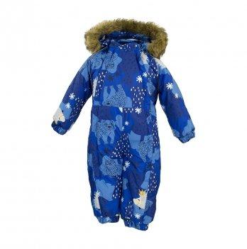 Зимний комбинезон для малышей Huppa Keira 83335 синий с принтом