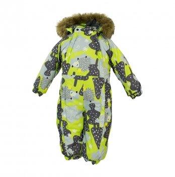 Зимний комбинезон для малышей Huppa Keira 83347 лайм с принтом