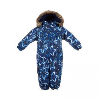 Зимний комбинезон для малышей Huppa Keira 83486 темно-синий с принтом