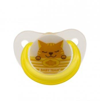 Пустышка латексная ортодонтическая 6+ Baby Team 3202 Котик