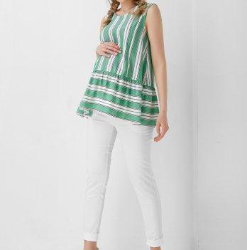 Блуза для беременных Dianora белая в зеленые полосы 1944 1099