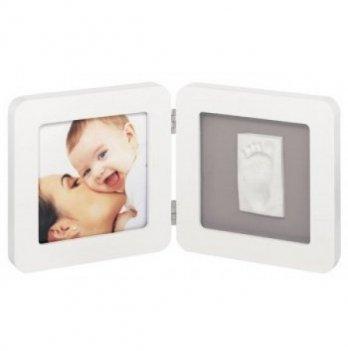 Фоторамка с набором для создания отпечатков Baby Art двойная, бело-серая