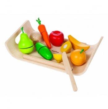 Деревянный игрушечный набор PlanToys® Фруктово-овощное ассорти