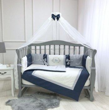 Комплект постельного белья для кроватки Маленькая Соня Royal 7 предметов синий