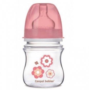 Антиколиковая бутылочка Canpol Babies Easystart Newborn baby, 120 мл, розовые цветы