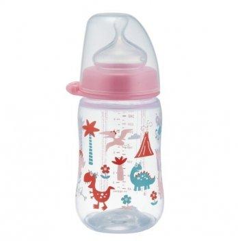 Бутылочка для девочки с широким горлышком+соска силиконовая (Система