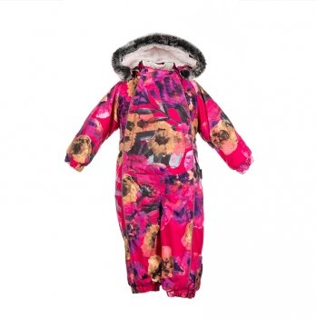 Детский зимний термо комбинезон Huppa, REGGIE 1, розовый с цветами