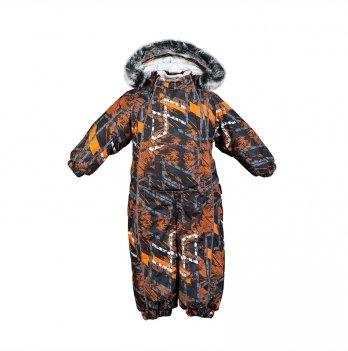 Детский зимний термо комбинезон Huppa, REGGIE 1, оранжевый с узором