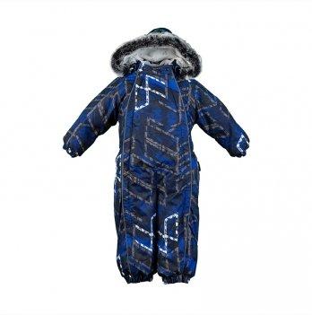 Детский зимний термо комбинезон Huppa, REGGIE 1, темно-синий узор
