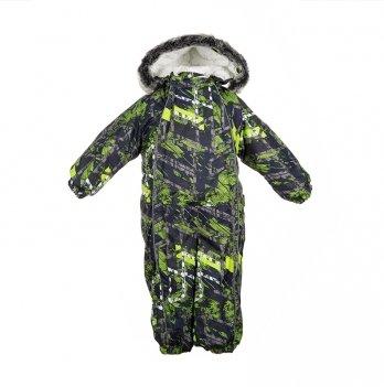 Детский зимний термо комбинезон Huppa, REGGIE 1, синий с салатовым