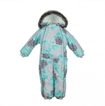 Детский зимний термо комбинезон Huppa, REGGIE 1, зеленый с ежиками