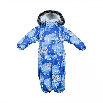 Детский зимний термо комбинезон Huppa, REGGIE 1, синий с облаками и ежиками