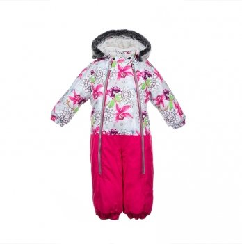 Детский зимний термо-комбинезон Huppa, DEVON 2, белый с цветами