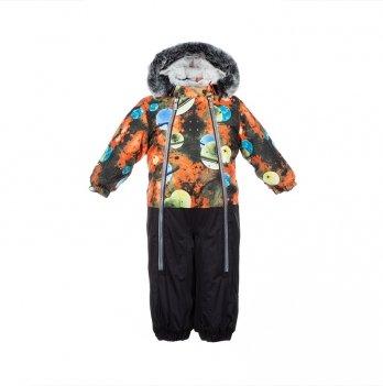 Детский зимний термо-комбинезон Huppa, DEVON 2, черный/оранжевый