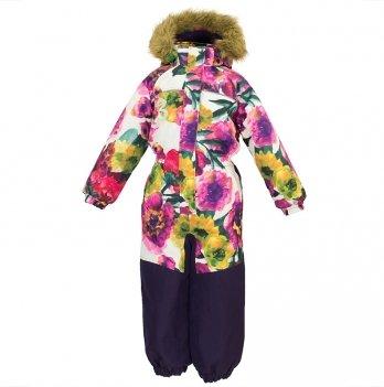 Комбинезон зимний для девочки Huppa CHLOE 1, белый с цветами