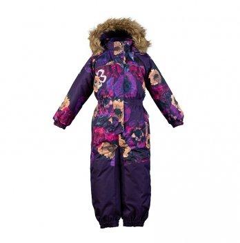 Комбинезон зимний для девочки Huppa CHLOE 1, фиолетовый с маками