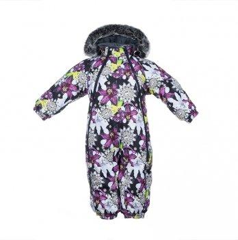 Комбинезон зимний для девочки Huppa ORION, лилии на черном