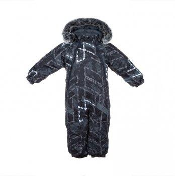 Комбинезон зимний для мальчика Huppa ORION, черно-белая геометрия