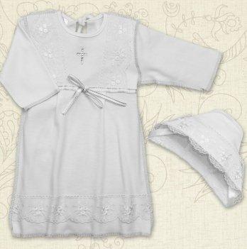 Сорочка для Крещения девочки, Бетис Христина-2, с шапочкой, д.р., интерлок, белый