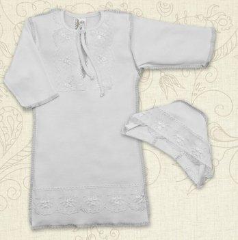 Сорочка для Крещения девочки, Бетис Яночка-2, с шапочкой, д.р., интерлок, белый