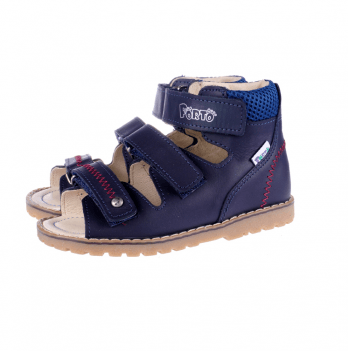 Босоножки ортопедические кожаные открытый носок Ortho Cyborg 1199-77, темно-синий