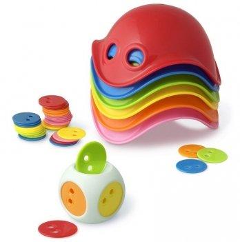 Развивающая игрушка Moluk, BILIBO Game Box, 6 разноцветных билибо, 1 кубик с чипами 36 шт