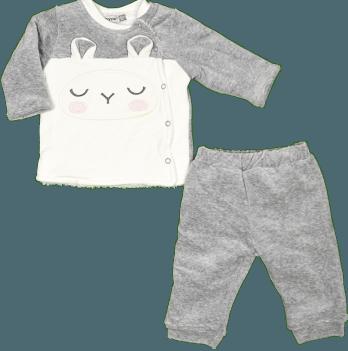 Комплект велюровый для малышей Bonne Baby, на софте, серый, арт. 374277