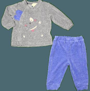 Комплект велюровый для мальчика Bonne Baby, серый с голубым, арт. 374278