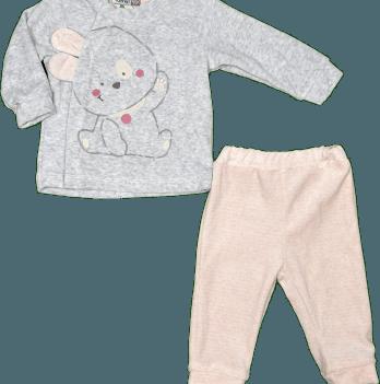 Комплект велюровый для девочки Bonne Baby, серый с розовым, арт. 374278