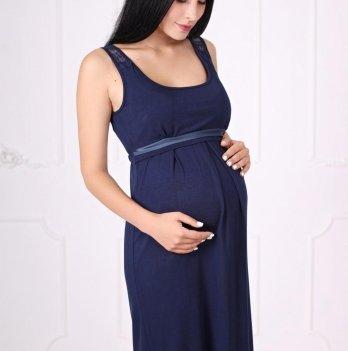 Ночная рубашка для беременных и кормящих Znana Lace темно-синяя