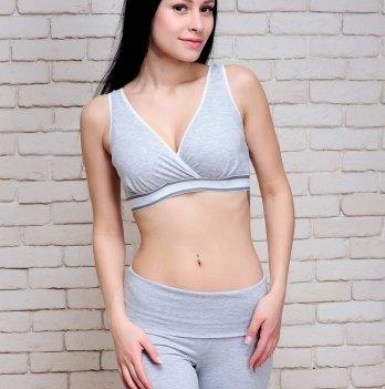 Бюстгальтер топ для беременных и кормящих Znana Comfort серый меланж