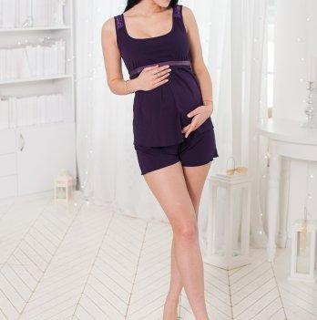 Комплект для беременных кормящих Znana Lace топ + шорты баклажан
