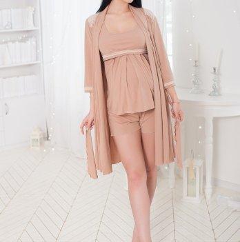 Комплект для беременных кормящих Znana Lace халат + пижама светло бежевый