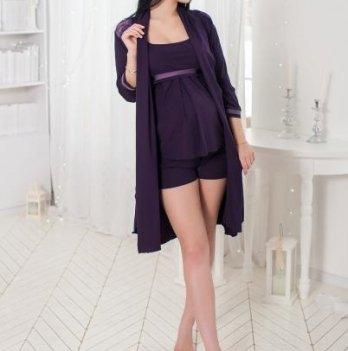 Комплект для беременных кормящих Znana Lace халат + пижама баклажан