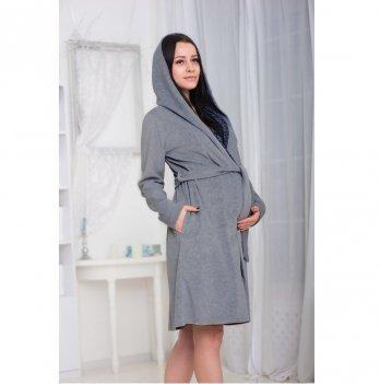 Халат велюровый с капюшоном для беременных и кормящих Znana Care Темно-серый