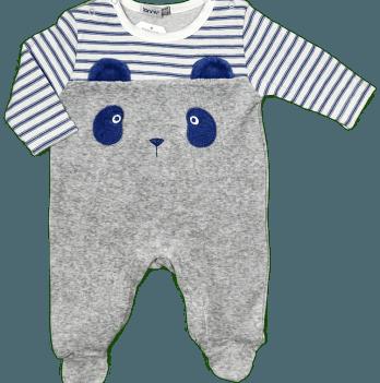 Комбинезон велюровый для мальчика Bonne Baby, серый, арт. 383134