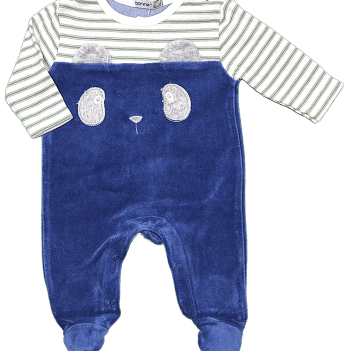 Комбинезон велюровый для мальчика Bonne Baby, синий, арт. 383134